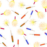 Seamless Pattern with Rockets Sparklers Fireworks Stock Photos