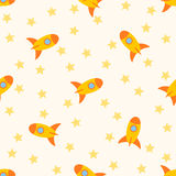 Seamless pattern with rockets and stars for childs. Vector illustration Royalty Free Stock Photography