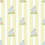 Seamless pattern with rocking horses on stripde background illus Stock Photo