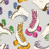 Seamless pattern with roller skates stock illustration