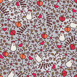 Seamless pattern with romantic chickens. Stock Images