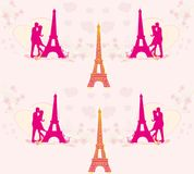 Seamless pattern with romantic couple in Paris Royalty Free Stock Photos