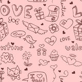 Seamless pattern with romantic doodles Royalty Free Stock Photos