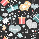 Seamless pattern with romantic elements Stock Images