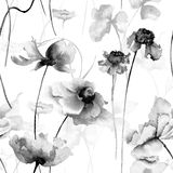 Seamless pattern with romantic flowers. Monochrome watercolor painting Stock Images