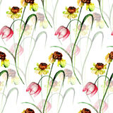 Seamless pattern with romantic flowers. Watercolor painting Stock Images