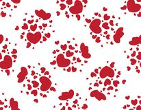 Pattern of red hearts on a white background. Seamless pattern with romantic red hearts for Valentine`s Day or wedding. Design for fabric print, ornament Stock Image