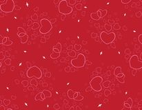 Pattern of red hearts for Valentine`s Day. Seamless pattern with romantic red hearts for Valentine`s Day or wedding. Design for fabric print, ornament, wallpaper Stock Image