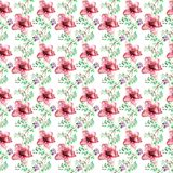 Seamless pattern with Romantic summer flowers. Watercolor illustration Royalty Free Stock Photography