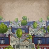 Seamless pattern with roofs of houses. Old fabulous English town. book Illustration. royalty free illustration