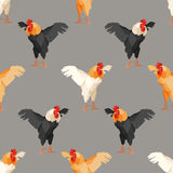 Seamless pattern with rooster 2 Royalty Free Stock Image