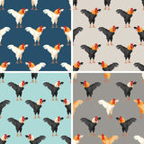 Seamless pattern with rooster. Set Royalty Free Stock Photo