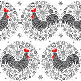 Seamless  pattern with rooster silhouette and snowflakes on a white background. Rooster- animal symbol of new year 2017. Stock Photos
