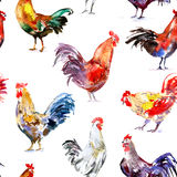 Seamless pattern with rooster. Sketch.Symbol of the new year 2017.Watercolor hand drawn illustration.White background Stock Photo