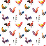 Seamless pattern with rooster. Sketch.Symbol of the new year 2017.Watercolor hand drawn illustration.White background Royalty Free Stock Photography