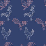 Seamless  pattern with rooster. 2017 Symbol. Chinese calendar. Vector outline for New Year's design Royalty Free Stock Image