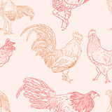 Seamless  pattern with rooster. 2017 Symbol. Chinese calendar. Vector outline for New Year's design Royalty Free Stock Images