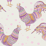 Seamless pattern with rooster Royalty Free Stock Photo