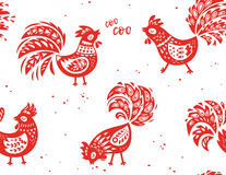 Seamless pattern of rooster. Vector background for New Years design. Seamless pattern of rooster, symbol of 2017 on the Chinese calendar. Red paper cut rooster Stock Photography