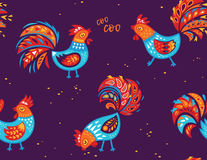 Seamless pattern of rooster. Vector background for New Years design Royalty Free Stock Image