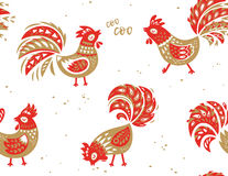 Seamless pattern of rooster. Vector background for New Years design. Seamless pattern of rooster, symbol of 2017 on the Chinese calendar. Silhouette of red cock Royalty Free Stock Image