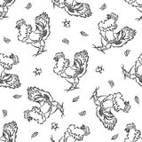 Seamless pattern with roosters Stock Photo