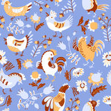 Seamless pattern with roosters. Cute decorative floral backgroun Royalty Free Stock Image