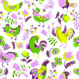 Seamless pattern with roosters. Cute decorative floral backgroun Stock Photography