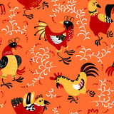 Seamless pattern with roosters. Cute decorative floral backgroun Royalty Free Stock Photo