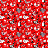 Seamless pattern with roosters. Cute decorative floral background Stock Image