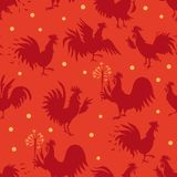 Seamless pattern with roosters in different poses vector illustration