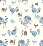 Seamless pattern Roosters and Hens. Hand drawn Roosters and Hens. Seamless pattern of bird silhouettes Stock Photography