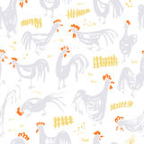 Seamless pattern with roosters. Ink artistic drawing with cocks Royalty Free Stock Photos