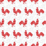 Seamless pattern with roosters made of floral ornament. Red cock. S on a white background Royalty Free Stock Photography