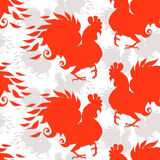 Seamless pattern with roosters. The symbol of the chinese new ye Stock Photos