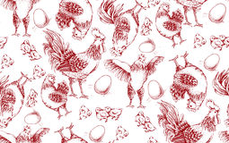 Seamless pattern of roosters Royalty Free Stock Photos