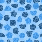 Seamless pattern with rope knots. Blue marine background. Royalty Free Stock Photo