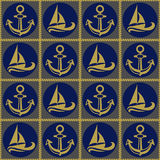 Seamless pattern with ropes anchors and boats. Ongoing backgrounds of marine theme. Stock Images