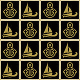 Seamless pattern with ropes anchors and boats. Ongoing backgrounds of marine theme. Royalty Free Stock Photography