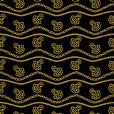 Seamless pattern with ropes anchors chain and waves gold and black. Ongoing backgrounds of marine theme. Vector stock illustration