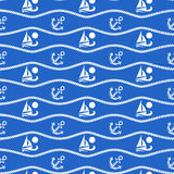 Seamless pattern with ropes and boats. Ongoing backgrounds of marine theme. Royalty Free Stock Photos