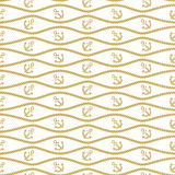 Seamless pattern with ropes and chains. Ongoing backgrounds of marine theme. Stock Photography