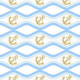 Seamless pattern with ropes and waves. Ongoing backgrounds of marine theme. Stock Image
