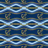 Seamless pattern with ropes and waves. Ongoing backgrounds of marine theme. Stock Photography
