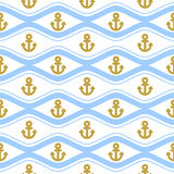 Seamless pattern with ropes and waves. Ongoing backgrounds of marine theme. Royalty Free Stock Images