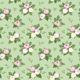 Vector seamless pattern with rose buds and leaves. Illustration of seamless pattern with pink and white rose buds and leaves on a green background vector illustration