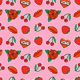 Seamless pattern with rose, cherry, strawberry, lips and heart on pink background. Fashion patches and stickers. Vector illustration Stock Photography