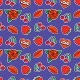 Seamless pattern with rose, cherry, strawberry, lips and heart on violet background. Fashion patches and stickers. Vector illustration Royalty Free Stock Images