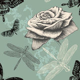 Seamless pattern with rose, decorative butterflies. And dragonflies. Hand drawing vector illustration