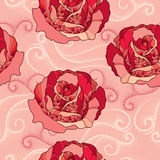 Seamless pattern with rose flower in red and dotted curls on the pink background Royalty Free Stock Photo